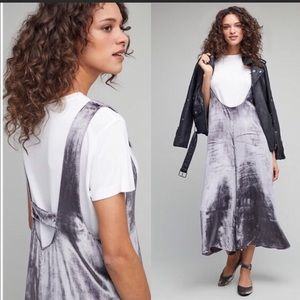 NWT Anthropologie Maeve silver velvet pants jumper